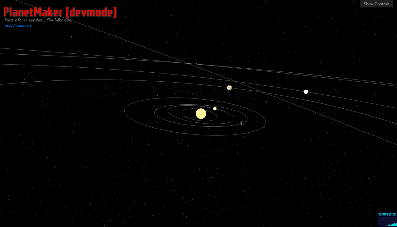 The planets orbit the sun in this animation.